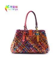 Fashion Brand Retro Oil Wax Cowhide Woven Bag Women Handbag 100% Genuine Leather Bags Shoulder Bags Women Messenger Bags B501