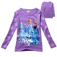 Elsa Dress Real Kidsdress Retail Free Shipping New 2014 Cartoon Kids Long Sleeves T- Shirt 2-8yrs Girls Frozen T-shirts Clothes