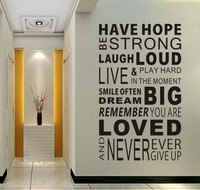 New 2014 Have Hope Sticker Family Rules Home Decor Quotes Office Wall Sticker Mural Art Living room Decals Wallpaper Decoration