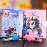 Notebook with A Pen School Supplies Student Notebook Mini Book Frozen Diary Kids Frozen Books 8*10cm