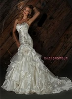 2014 Designers White Lace And See Through Beading Mermaid Wedding Dresses With Removable Train Bridal Dresses Tulle 140