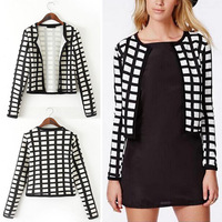 2014 Vintage Collarless Ethnic Plaid Printed Short Cardigan Jacket Coat Blouse Tops