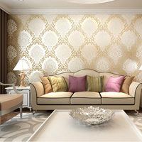 European Damascus 3D stereo sprinkle gold woven wallpaper bedroom luxury living room TV backdrop wallpaper