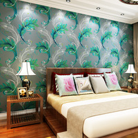 Southeast Asian style blue Queling stereoscopic 3D woven wallpaper bedroom living room sofa backdrop wallpaper
