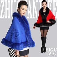 2014 women's autumn and winter wool overcoat waistcoat cloak outerwear plus size cloak cape