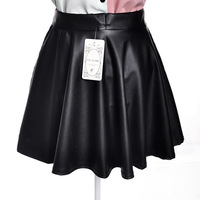 New 2014 women pleated leather skirt short saia tutu skirts PU leather A064
