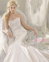 2014 Designers White Lace And See Through Beading Mermaid Wedding Dresses With Removable Train Bridal Dresses Tulle 881