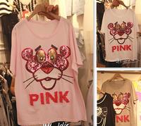 2014 Brand Designer Female Bling Cartoon t-shirt Korean summer short-sleeve loose paillette beading PINK Tiger Free shiping
