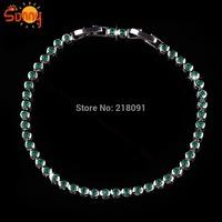 Custom emareld sapphire  lady's18K white  Gold Plated  bracelets for women gift
