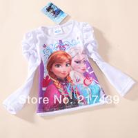 2014 Clothing Sets Conjuntos Peppa free Shipping Frozen Elsa And Anna Girl Girls Long Sleeve T Shirt T-shirt Top Tees Pcs/lot