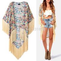 2014 Vintage Ethnic Cotton Floral Print Kimono Cardigan Tassels Maxi Shirt Blouse Top