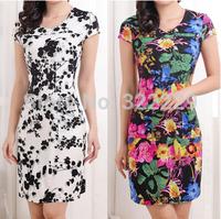 Mother dress Slim 2014 new summer women's round neck short sleeve silk dress Floral dress was thin big yards size L-4XL 24Colour