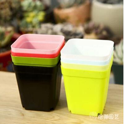 Korean großhandel blumentöpfe, plastiktöpfe, kreative kleine vierkant-töpfe- 7-tlg( 7 Farben gemischt)