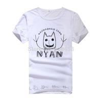 summer men women clothing anime Cartoon Hoozuki no Reitetsu Animal cat logo Cosplay costume cotton white Casual t-shirt tops