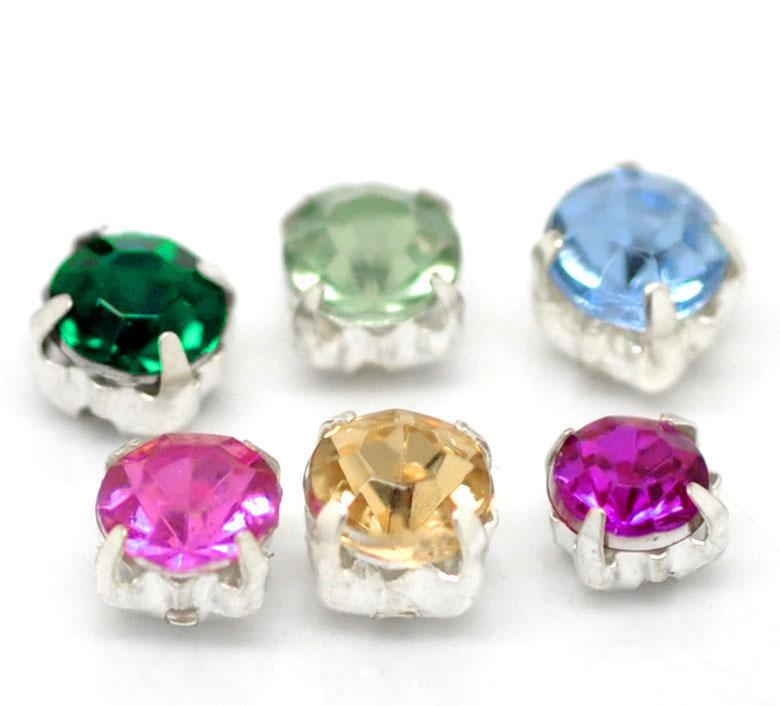 "2014 New 500PCs Acrylic Rhinestone Beads with Metal Findings 5x5mm(2/8""x2/8"") Free Shipping(China (Mainland))"