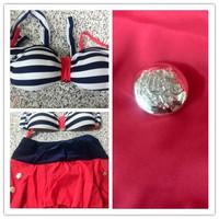 Newest fashionable 2014 RETRO Swimsuits Suits Swimwear Vintage Bandeau HIGH WAISTED Skirt Bikini Set S M L XL