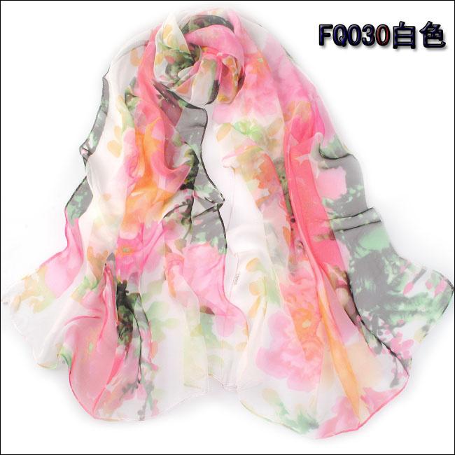Long Chiffon Silk scarves 1PC 50 160cm Novel Design Chinese Ink Smoky flower Pritned lady wear