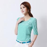 2014 summer slim women's top lace basic shirt sleeve chiffon shirt female 8818