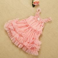 Fashion summer children Lace princess dress girls falbala tulle tutu dress kids party dress pink child Clothing 3285