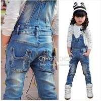 2014 spring and autumn female children jumpsuit child blue retro edging finishing jeans one piece bib pants
