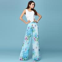 2014 chiffon wide leg pants fashion mid waist skirt casual trousers skorts female