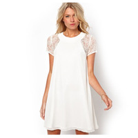 Fashion women Summer Dress 2014,White Chiffon Casual Lace Women Dresses, Plus Size XXL Frozen Party Dress