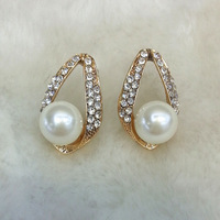 2014 New Fashion Pearl Wedding Jewelry For Women, Gold/Silver Plated Crystal Pearl Stud Earring For Bride Accessories JJ252