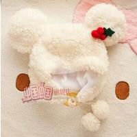 2014New earmuffs fashion mickey hat des sauterelles high-end plush hat warm rice white hat