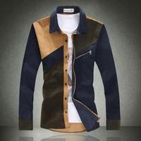 Plus Size M-5XL 2014 Autumn new casual men's long-sleeved shirts Retro fashion multicolor stitching slim fit mens Corduroy Shirt