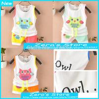Hot Sale New 2014 Baby & Kids Summer 100% Cotton Vest Set Infantis Baby Boys Girls Owl Sleeveless Casual Clothing Set _10