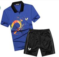 Free shipping 2014 Butterfly shirt men's table tennis shirt /badminton game T-shirt +shorts