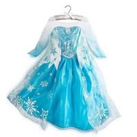 Retail 2014 summer Frozen dress, kids party dress, Animated cartoon dress, baby girls long-sleeved frozen elsa dress.