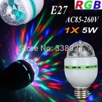 1X Free Shipping RGB Full Color 5W E27 / B22 LED Bulb Crystal Auto Rotating Stage Effect DJ Lamp Light Bulb Stage Lighting