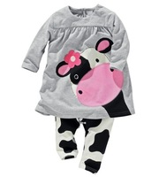 New 2014 Little Cow modeling long sleeve clothes pants suits girls clothing 2 pcs sets boy suit kids clothes sets drop shipping