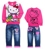 2013 new 6sets/lot Children sets Cartoon Hello Kitty clothes suits girls jeans sets hoodies+ pant kids baby denim suit wholesale