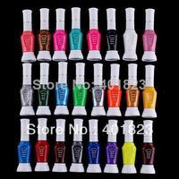 24pcs/lot 24 Colors 2-Way False Nail Art Glitter Makeup Polish colorful Nail Art Striper Pen Varnish Brush Set FREE SHIPPING