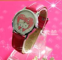 2014 New Hot sales Hello Kitty Brand Quartz Watch Children Cartoon Watch Leather items Fashions Girl Dress Watch relogios