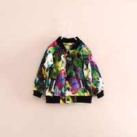 hot sale children girl mandarin collar flower jackets coats 2-7 years