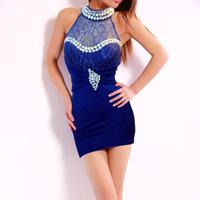 Free Shipping 2014 New Halter Custom Diamond package hip dress sexy nightclub women dress