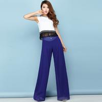 2014 chiffon wide leg pants mid waist plus size trousers skirt blue bohemia culottes