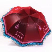 Fashion Korean princess umbrella European home chameleon black coating parasol umbrella folding UV protection