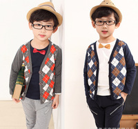 Retail 2014 Fashion Children Girls Boys dark blue/gray Spring Autumn Long Sleeve plaid Coat Knitted Sweater Kids grid Cardigan