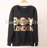 Women's Sweatshirts Boy-London Letter Print Plus Size Fashion Female Crewneck Sweatshirt Streetwear Black/White   #JM06890