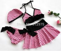 Girl Kid Pink Polka Dots Bowknot Swimming Bikini Set Girl Swimwear Girl Swimsuit Bathing Suit Cap+Top+Skirt+Pantie Age 5-8