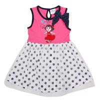 2014 Summer New Children's Cartoon Pattern Dot Bow Round Neck Dress Girls Fashion Continental