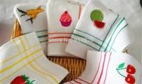 Applique Kitchen Dishtowel/Dishcloth/Tea Towel Waffle White