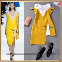 New 2014 Summer runway fashion women's V-neck strapless irregular fluid yellow embroidered tank dress