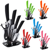 "Beauty Gifts brand high quality 6 piece a set Zirconia kitchen Ceramic Knife tool Set 3"" 4"" 5"" 6"" inch + Peeler+Holder"