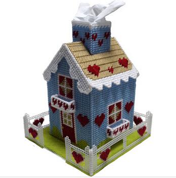 3D ponto cruz shap caixa de tecido caixa de tecido de presente DIY decoração de para girls ' feitas à mão para rolo de papel pequena(China (Mainland))
