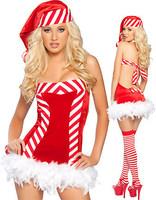 Halter dress Christmas dress Christmas plush nightclub costumes / costumes / RPG / uniform temptation Freeshipping